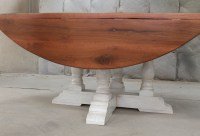 "80"" Round Drop Leaf Table - ECustomFinishes"