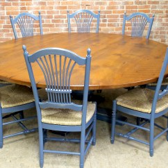 Round Oak Table And Chairs Farmhouse Style Chair Cushions 84 Farm With Tuscany Pedestal Ecustomfinishes Inch Pedestal4