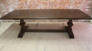 Large Old Oak Venetian Trestle Table ECustomFinishes