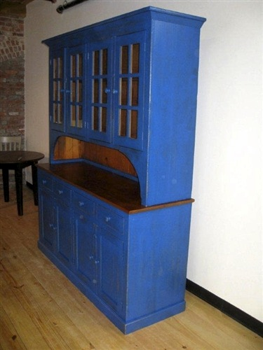 Blue Rustic Hutch From Reclaimed Wood Ecustomfinishes