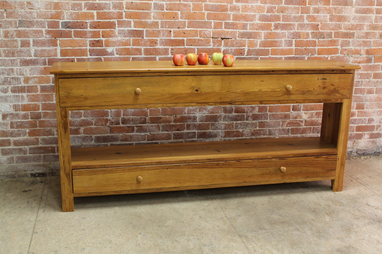 Long Antique Pine Media Console  ECustomFinishes