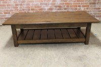 Rustic Coffee Table with Slatted Shelf Design ...