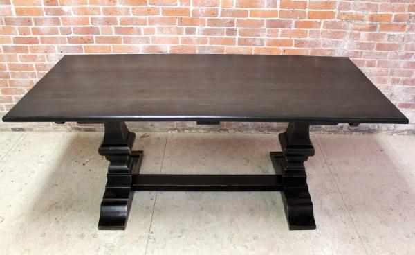 Black Wash Dining Table With Venetian Base - Ecustomfinishes