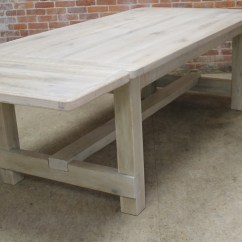 White Washed Oak Dining Table And Chairs Chair Yoga Certification Ontario Farm With Custom Trestle Ecustomfinishes