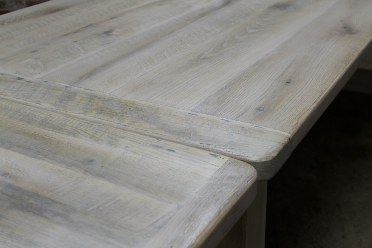 White Washed Farm Table With Custom Trestle ECustomFinishes - Kitchen Cabinets Doors For Sale
