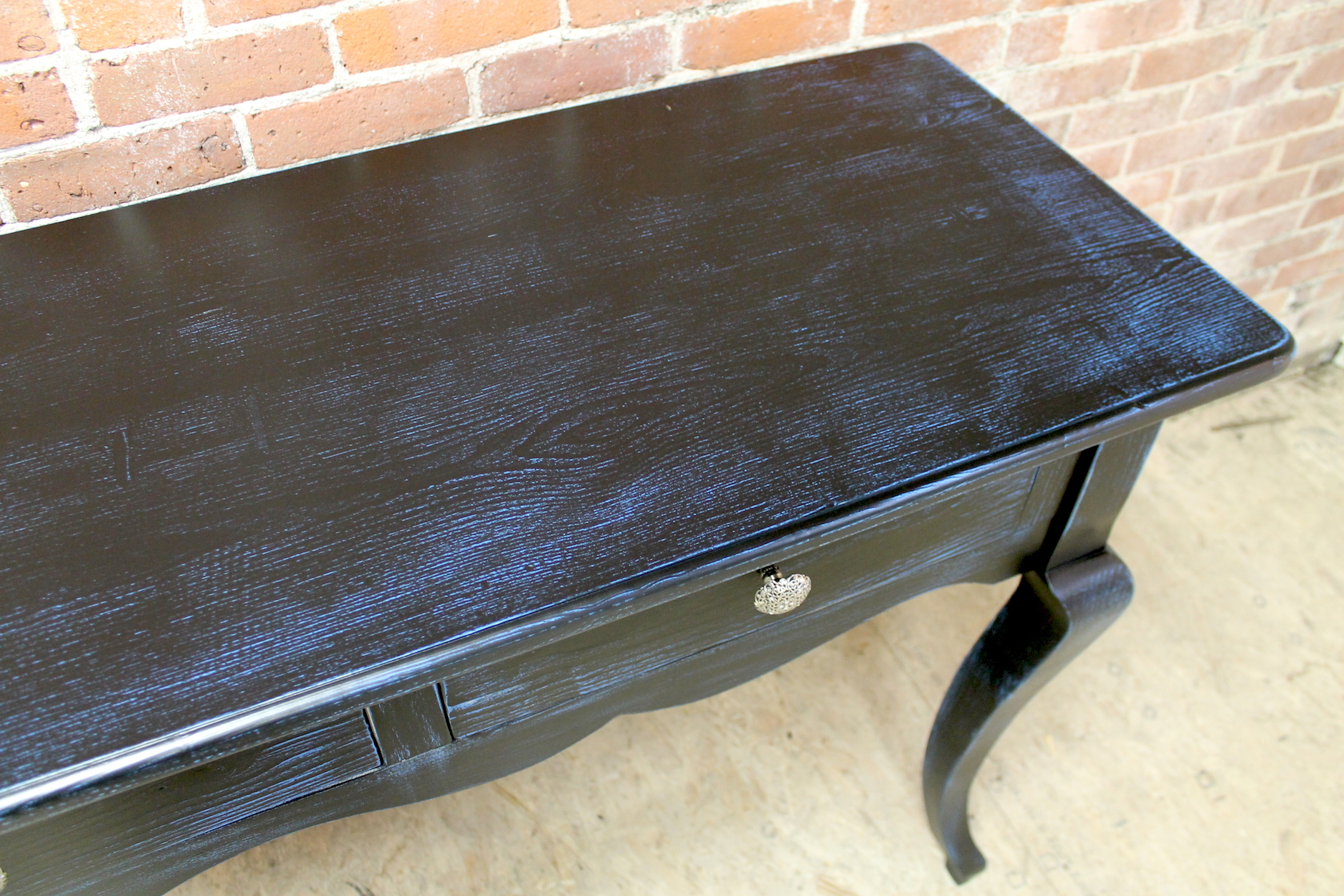Black Console Table With Blue Rub Through ECustomFinishes