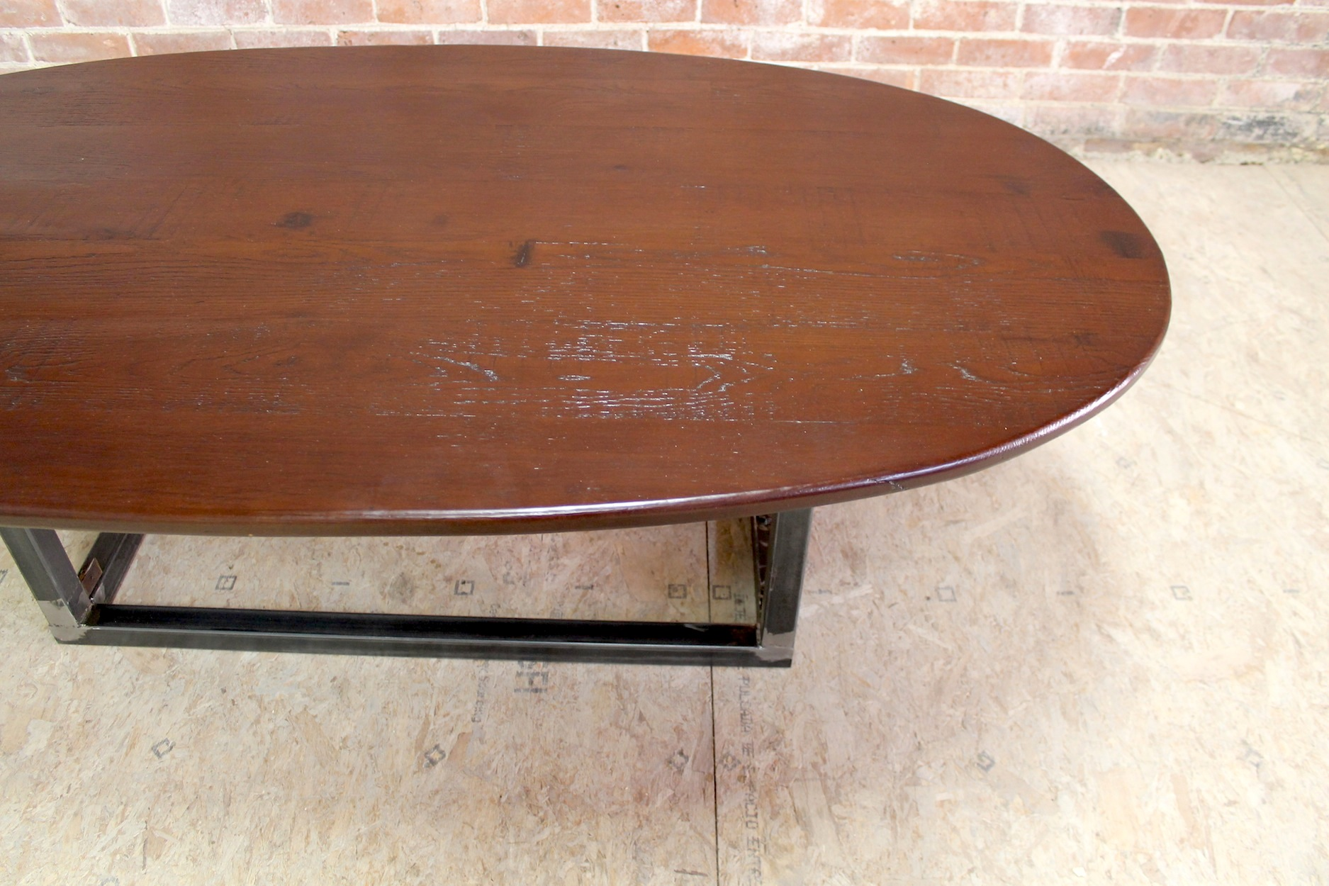 round wood kitchen table pull out drawers rustic oval coffee with steel base - ecustomfinishes