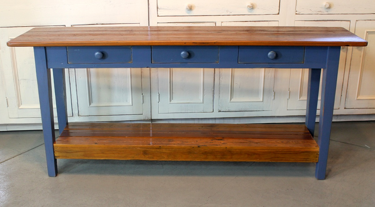 sofa console tables wood red velvet for sale barn table with slatted shelf ecustomfinishes shelf5