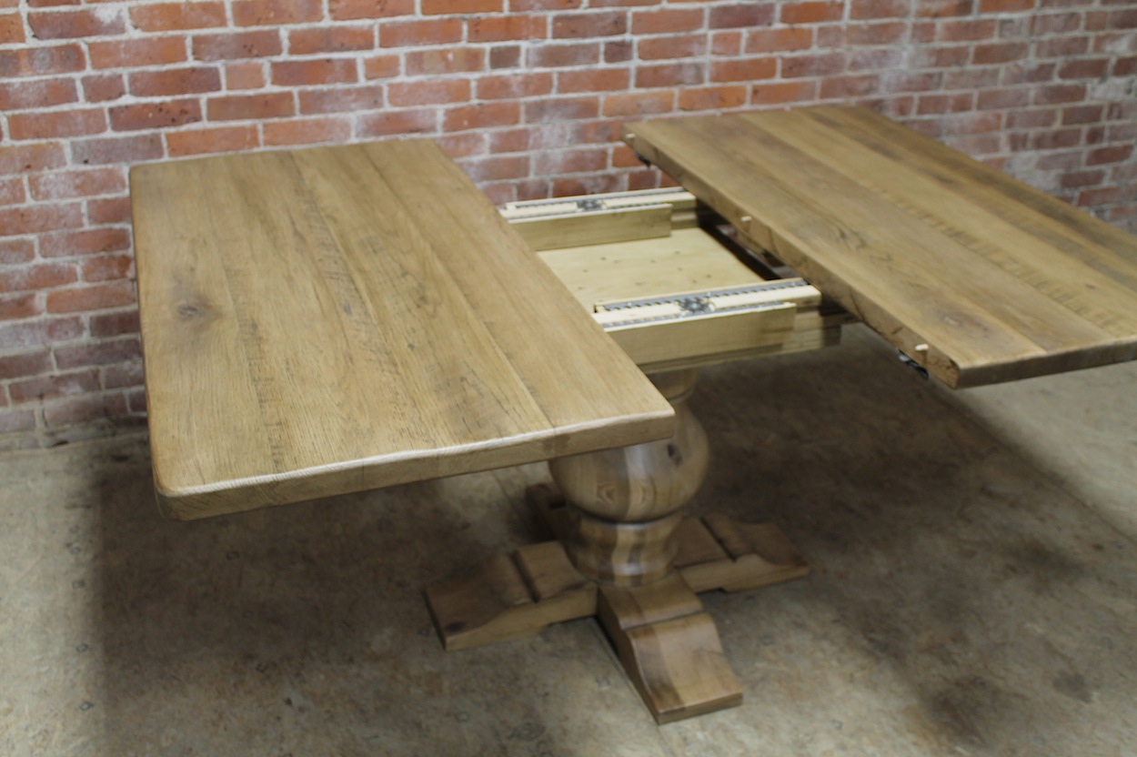 reclaimed wood kitchen tables pots and pans square pedestal table with center extension - ecustomfinishes