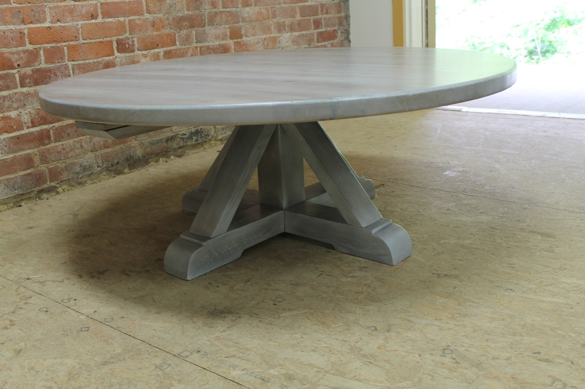Round White Washed Coffee Table With Pedestal