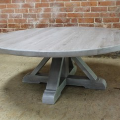 White Washed Oak Dining Table And Chairs Room Set With Leather Round Coffee Pedestal
