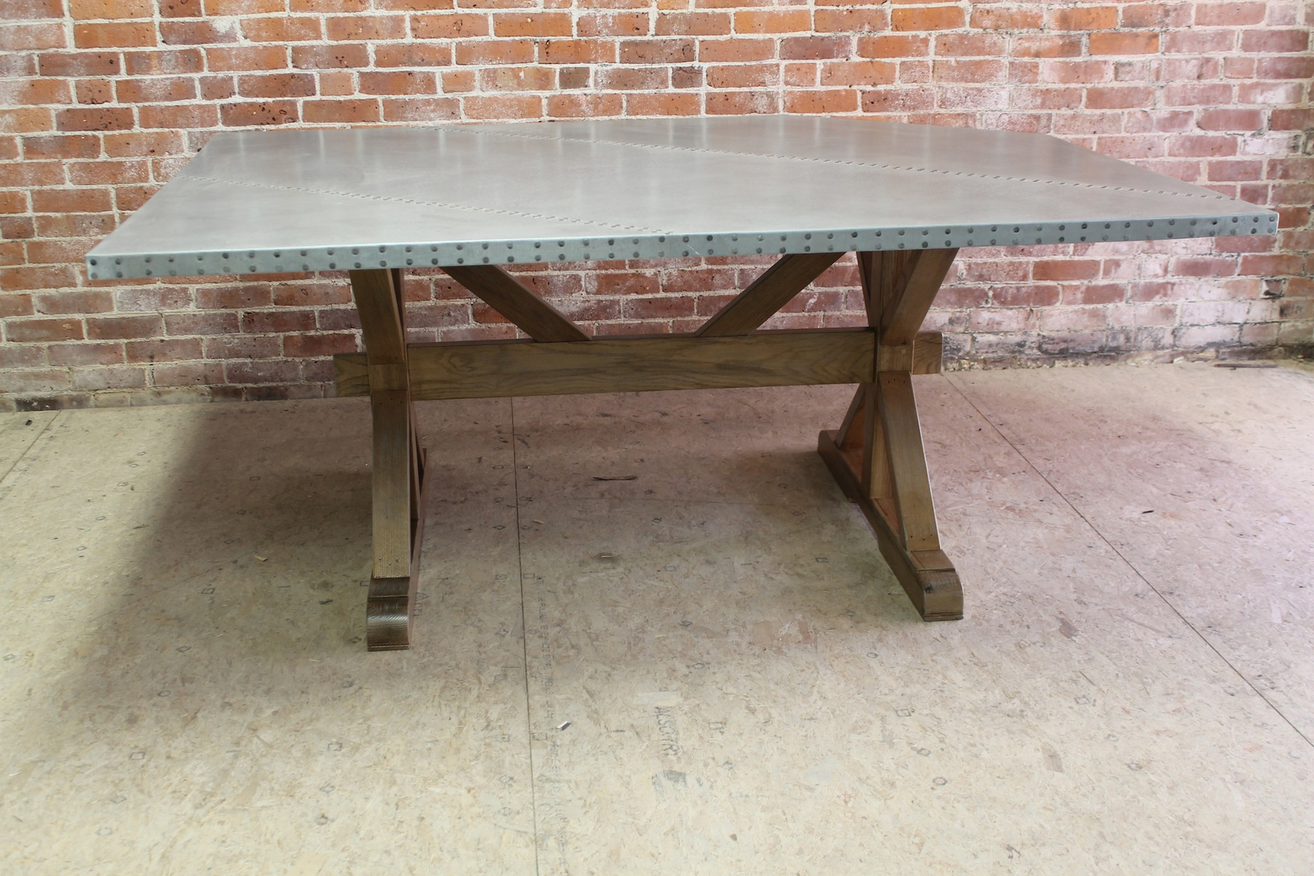 metal kitchen cabinets for sale shades zinc top farm table with x-trestle base - ecustomfinishes