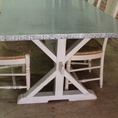 Soft Kitchen Flooring Options Island Discount Zinc Trestle Table Seen With Matching Fanback Chairs ...
