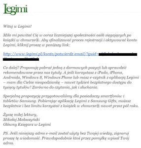Legimi - rejestracja - potwierdzenie e-mail