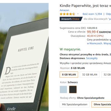 Black Friday w niemieckim Amazonie. Kindle 10 [-25€], Paperwhite 4 [-40€], Oasis 3 [-50€]!