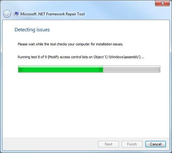 .Net Framework Repair Tool, test detección