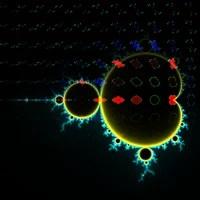 En negro, imagen del conjunto de Mandelbrot superpuesto con los conjuntos de Julia rellenos representados por algunos de sus puntos (en rojo los conjuntos de Julia conexos y en azul los no conexos).
