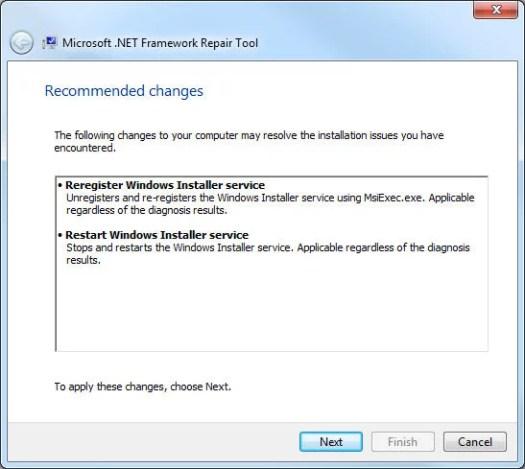 .Net Framework Repair Tool, cambios recomendados