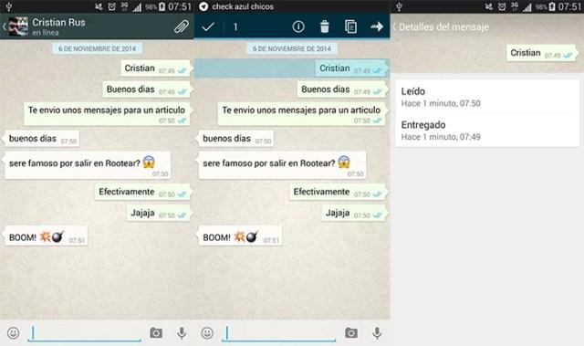 Saber la hora en que se leyó un mensaje de WhatsApp