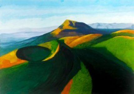 paysage à la gouache en ecole de dessin