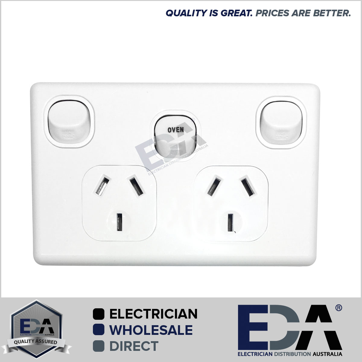 Double Power Point GPO with OVEN 35 Amp Extra Switch Wall