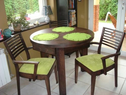 stół okrągły drewniany bukowy z szufladami