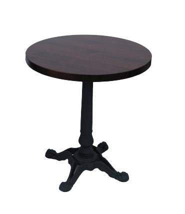stół drewniany okrągły blat i żeliwna noga