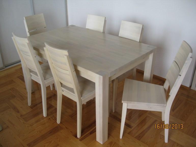 stol bukowz bielony, meble drewniane bilone do salonu