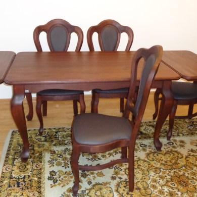 Komplet drewniany, Stół drewniany z drewna bukowego kolor la ludwik styl
