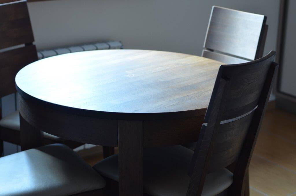 stół okrągły dębowy kolor grey
