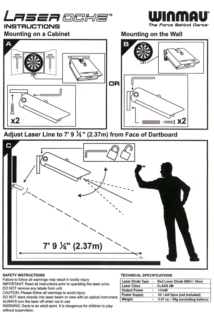 Winmau Laser Oche Throw Line Emulator