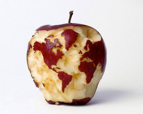 Earth map sculpted into apple