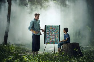 Teaching One-on-one teacher in a misty forest setting