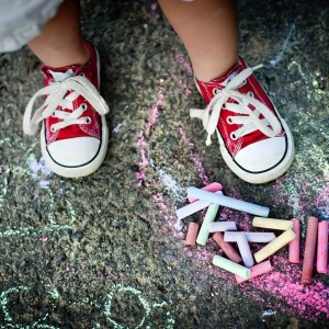 colored chalk shoes