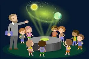 Innovation education elementary school learning technology and people concept - group of kids looking to orbit of earth. hologram on space lesson future museum center. vector illustration