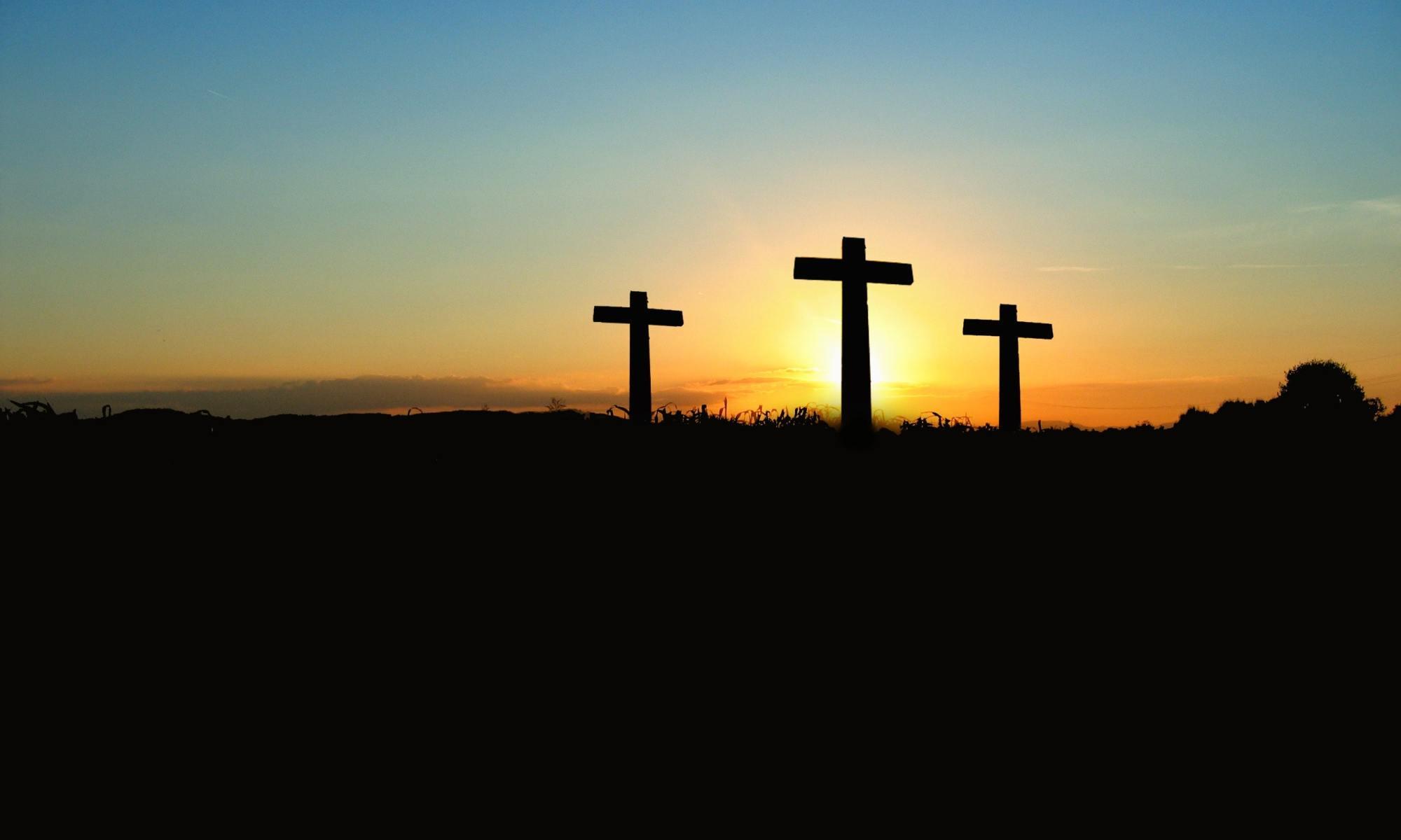 Three empty crosses