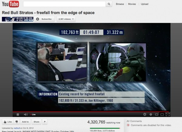 Red Bull Stratos | YouTube screenshot