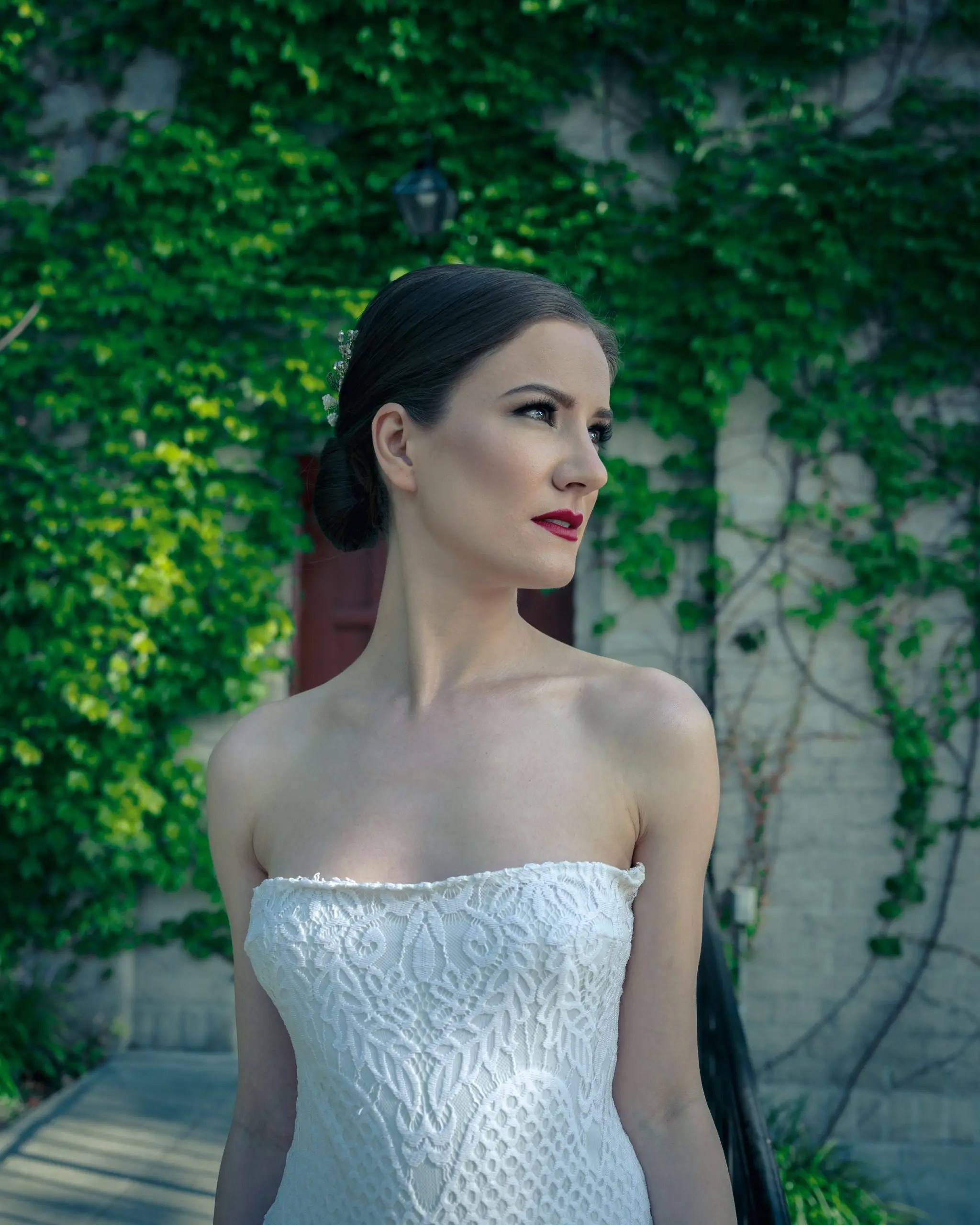 Bride poses in front of a church in Los Angeles. This Photoshoot was done to demonstrate my skills along with the hair and make up artist for bridal photography.