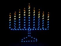 Large Outdoor Menorah Silhouette Light Decoration - 6 Feet