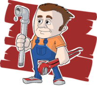 plumber with pipe and wrench