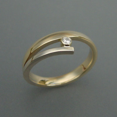 Bicolor ring met diamant