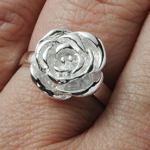 Silber Ring kleine Rose