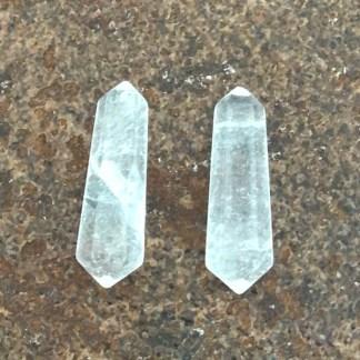 bergkristal dubbeleinders kleine punten gepolijst mineralen