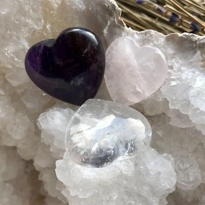 setje hartjes de gouden driehoek gepolijst bergkristal rozekwarts amethist mineralen