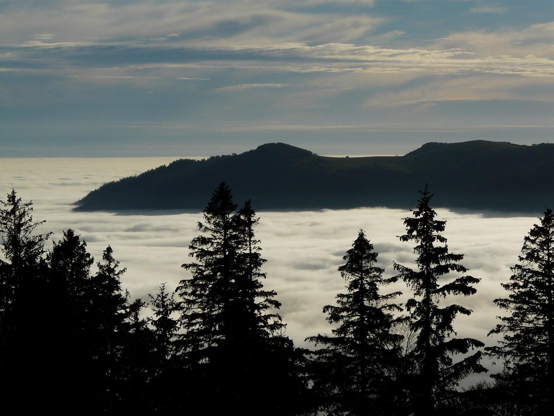 La mer de nuage, phénomène habituel en automne, mais on ne s'en lasse pas...