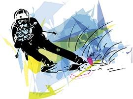 Illustration d'un coureur en ski de descente