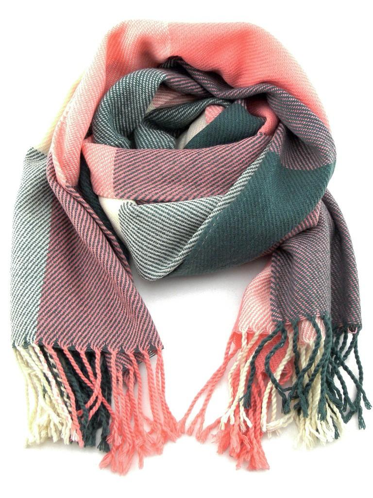 charpe chle Femme laine de couleur vieux rose et vert