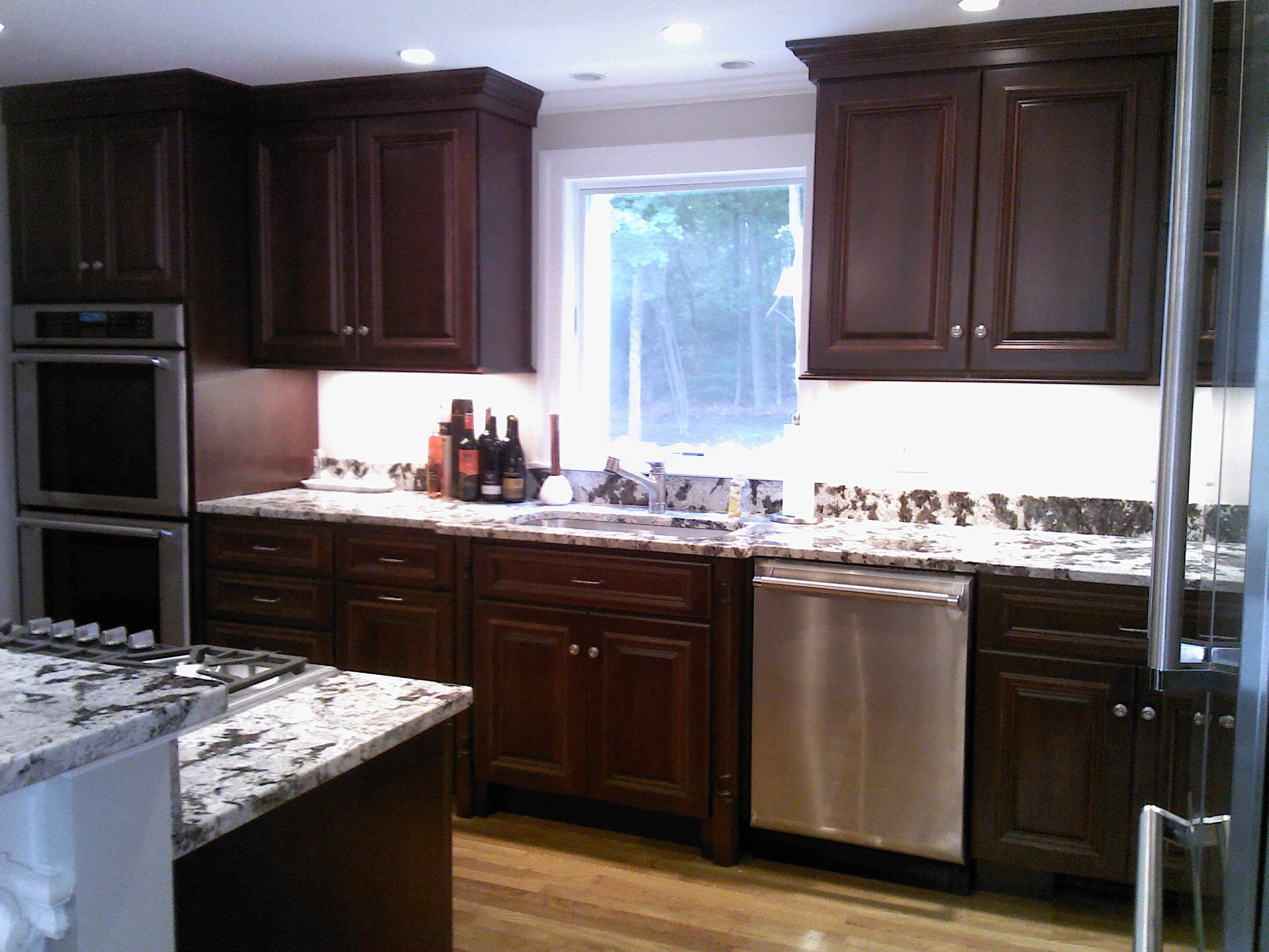 mahogany kitchen cabinets decorative ceramic tiles remodel before and after 7