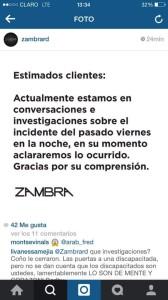 Este es el post que publicó la cuenta de Instagram de la Discoteca Zambra al otro día del incidente.
