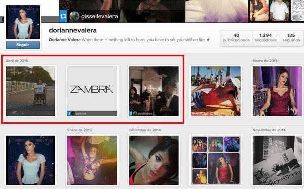 Cuenta de Instagram de Dorianne Valera con el caso de la Discoteca Zambra